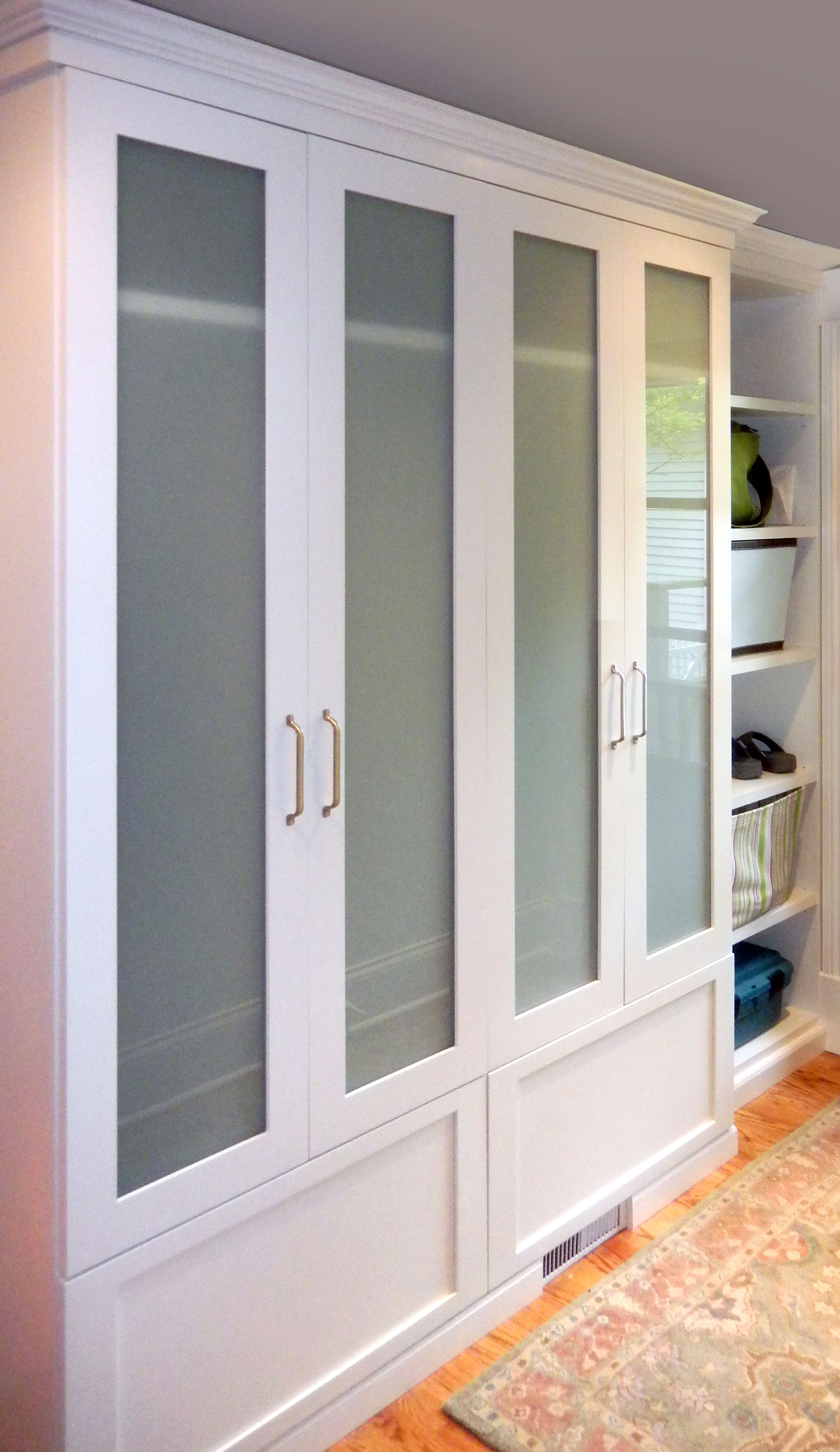 Mudroom for evanston homeowner closet outfitters - Closet door options for small spaces ideas ...